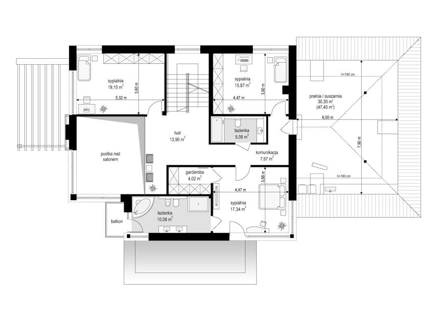 Dom z widokiem 2 C - rzut piętra odbicie lustrzane