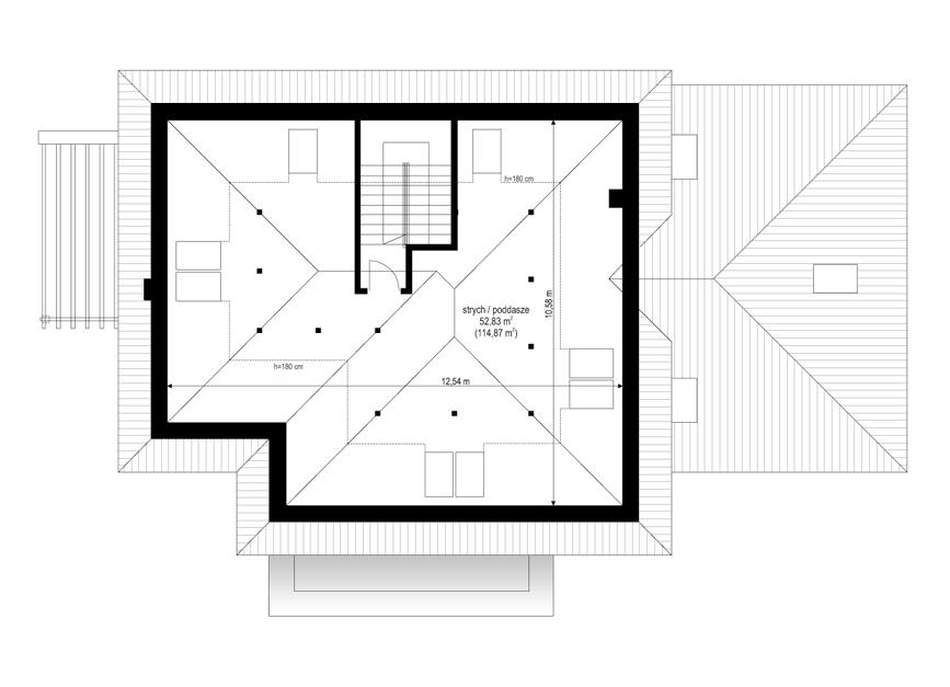 Dom z widokiem 2 C - rzut poddasza odbicie lustrzane