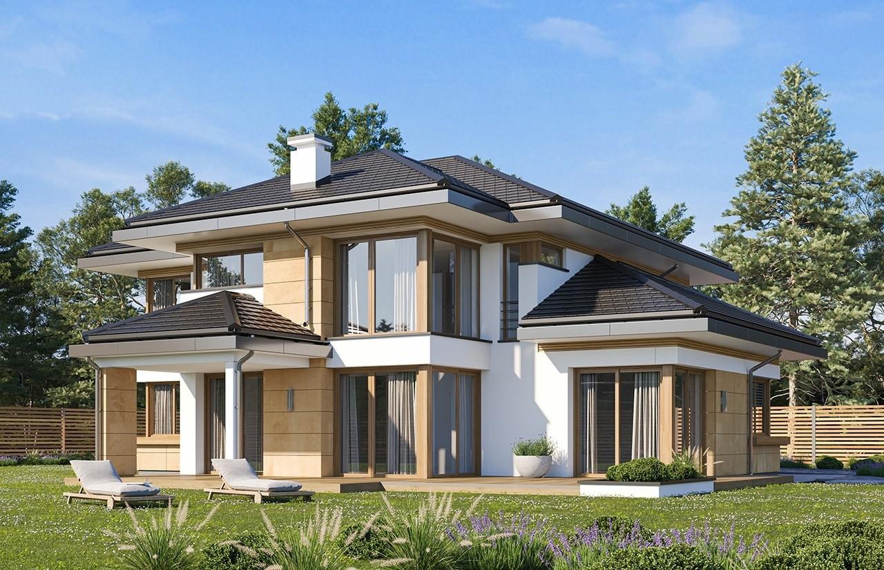 Projekt domu Dom z widokiem 3 wariant B wizualizacja tylna