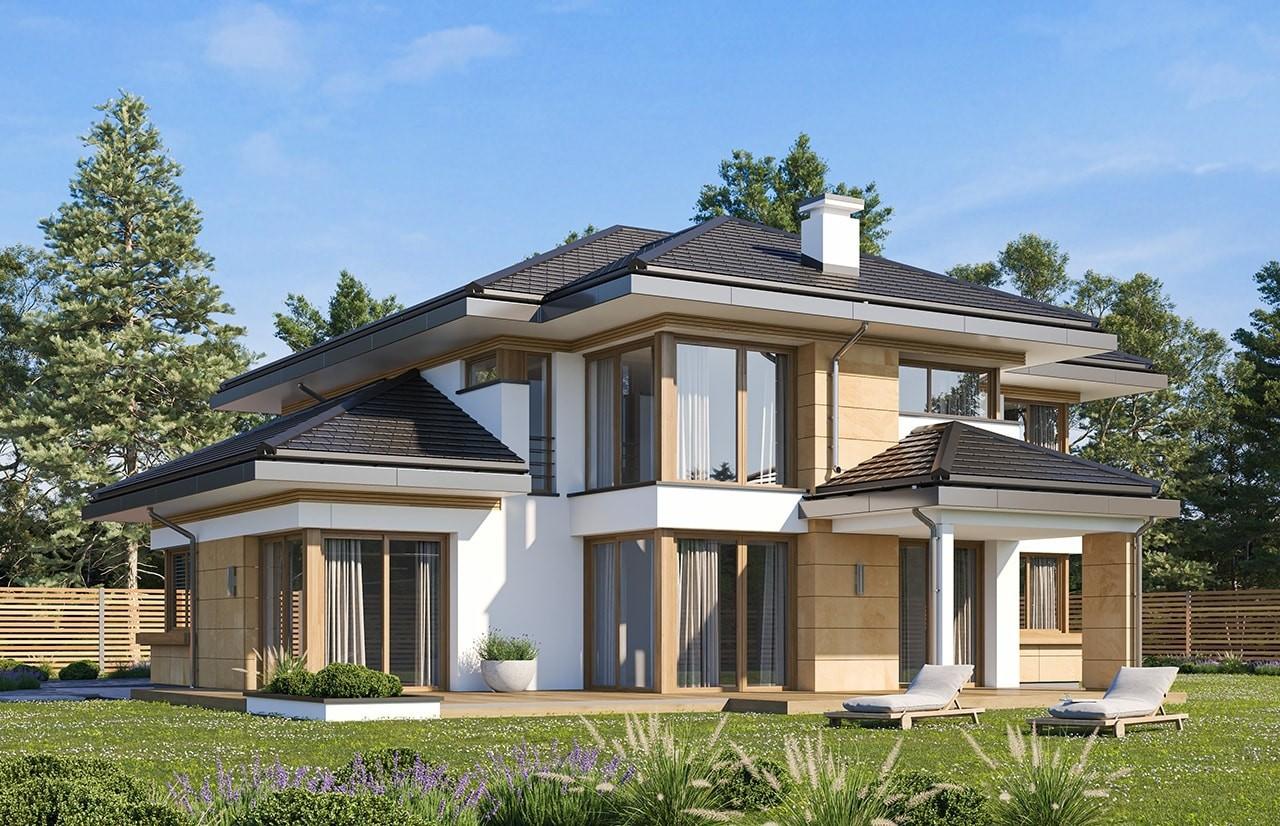 Projekt domu Dom z widokiem 3 wariant B wizualizacja tylna odbicie lustrzane