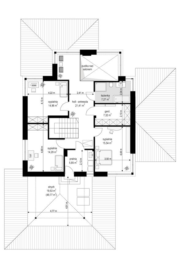 Dom z widokiem 3 F - rzut piętra