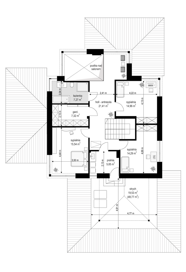 Dom z widokiem 3 F - rzut piętra odbicie lustrzane
