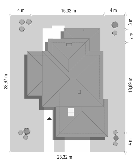 Dom z widokiem 3 F - sytuacja odbicie lustrzane