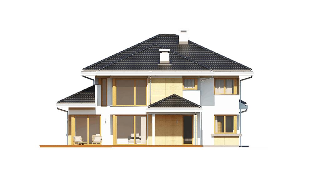 Dom z widokiem 3 wariant G - elewacja boczna odbicie lustrzane