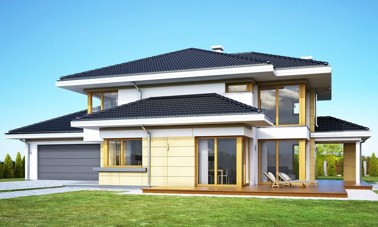 Projekt domu Dom z widokiem 3 wariant G - wizualizacja frontowa odbicie lustrzane