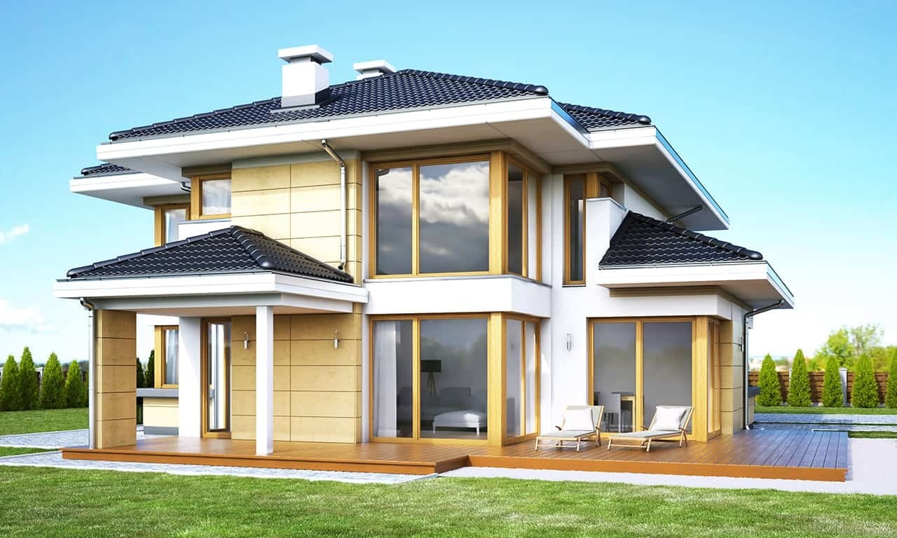 Projekt domu Dom z widokiem 3 wariant G - wizualizacja tylna