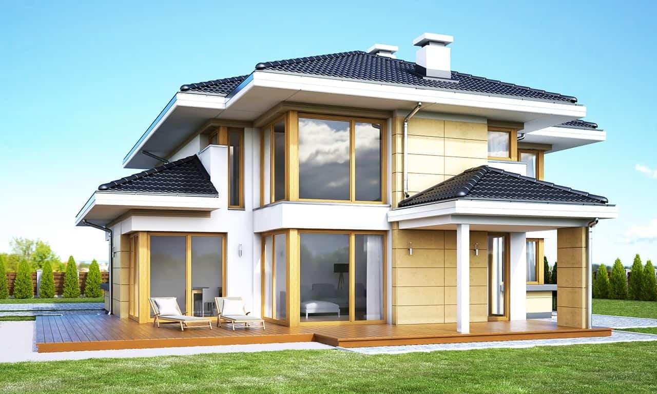 Projekt domu Dom z widokiem 3 wariant G - wizualizacja tylna odbicie lustrzane