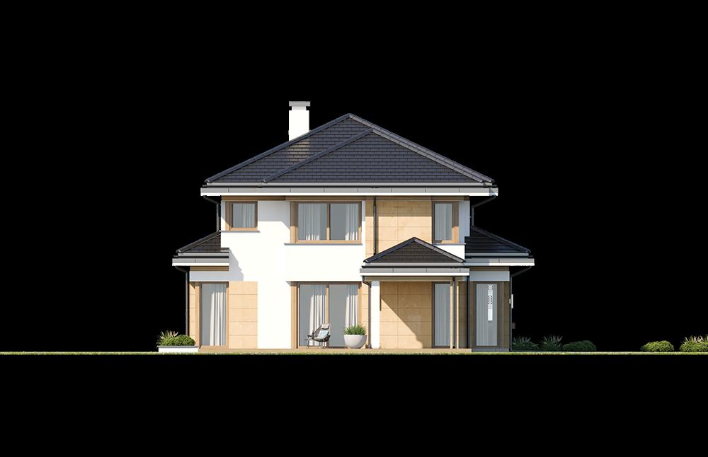 Dom z widokiem 5 wariant B elewacja boczna odbicie lustrzane