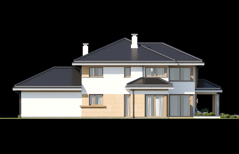 Dom z widokiem 5 wariant B elewacja tylna odbicie lustrzane