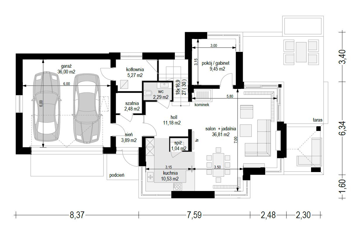 Dom z widokiem 5 wariant B - rzut parteru