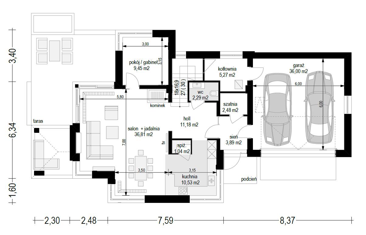 Dom z widokiem 5 wariant B - rzut parteru odbicie lustrzane