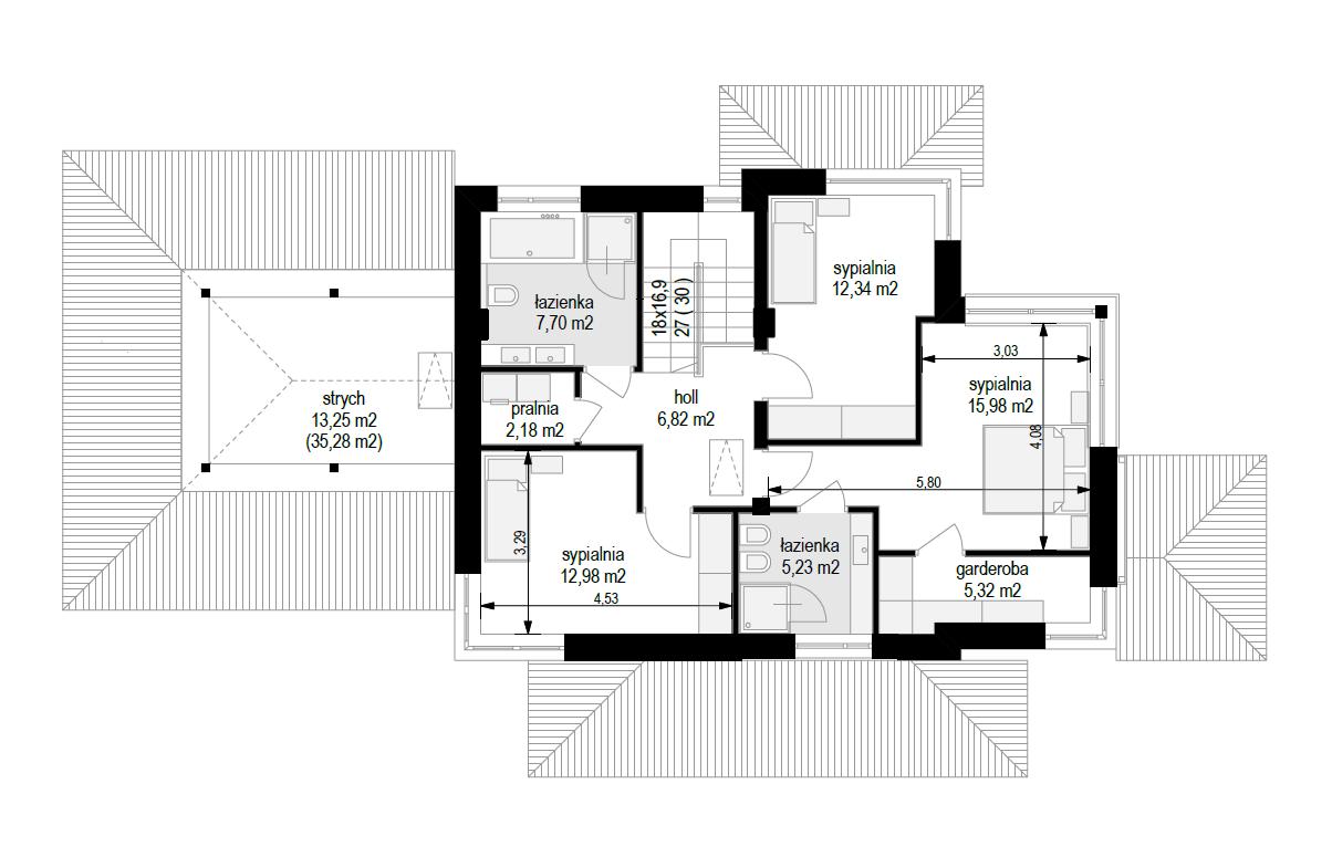 Dom z widokiem 5 wariant B - rzut piętra