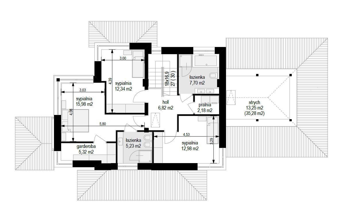Dom z widokiem 5 wariant B - rzut piętra odbicie lustrzane