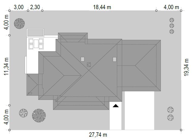 Dom z widokiem 5 wariant B - sytuacja odbicie lustrzane