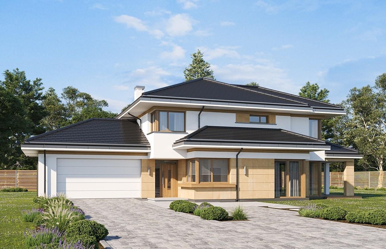 Projekt domu Dom z widokiem 5 wariant B wizualizacja frontu