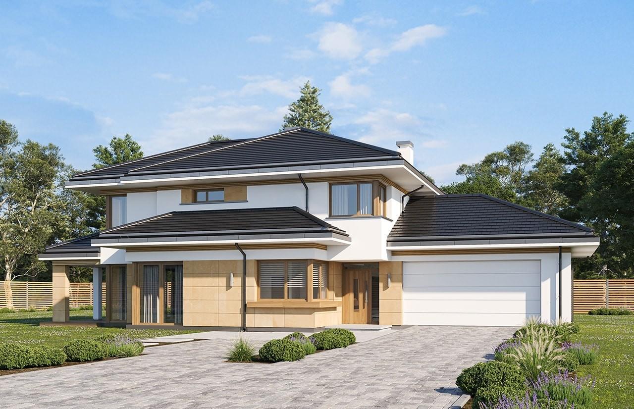 Projekt domu Dom z widokiem 5 wariant B wizualizacja frontu odbicie lustrzane
