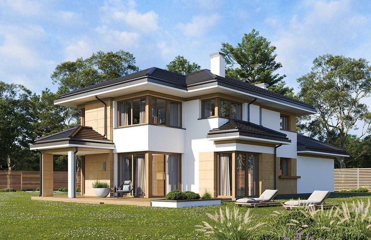 Projekt domu Dom z widokiem 5 wariant B wizualizacja tylna