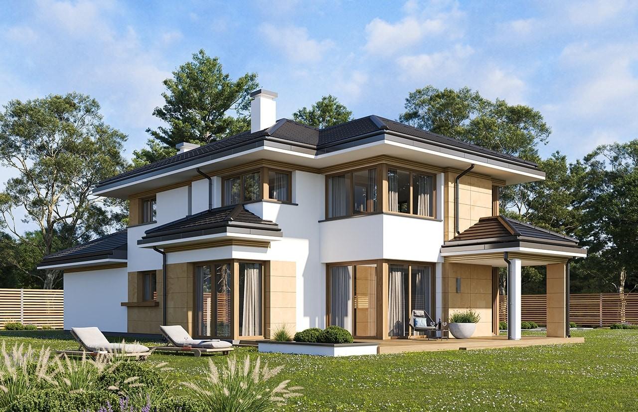Projekt domu Dom z widokiem 5 wariant B wizualizacja tylna odbicie lustrzane