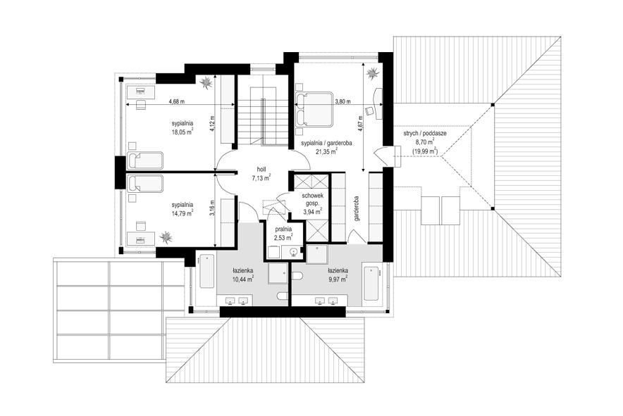 Dom z widokiem 6 B - rzut piętra odbicie lustrzane