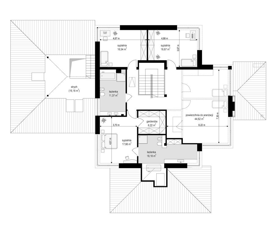 Dom z widokiem B - rzut piętra odbicie lustrzane