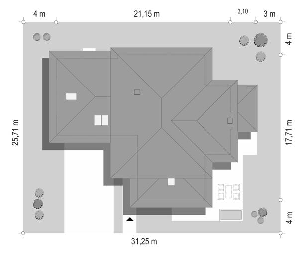 Dom z widokiem B - sytuacja odbicie lustrzane