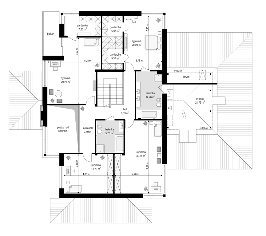 Dom z widokiem E - rzut piętra