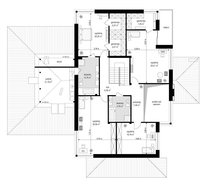 Dom z widokiem E - rzut piętra odbicie lustrzane