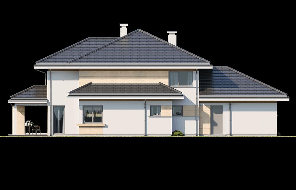 Dom z widokiem 3 wariant J - elewacja ogrodowa odbicie lustrzane