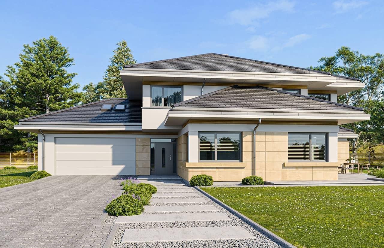 Projekt domu Dom z widokiem 3 wariant J - wizualizacja frontowa odbicie lustrzane