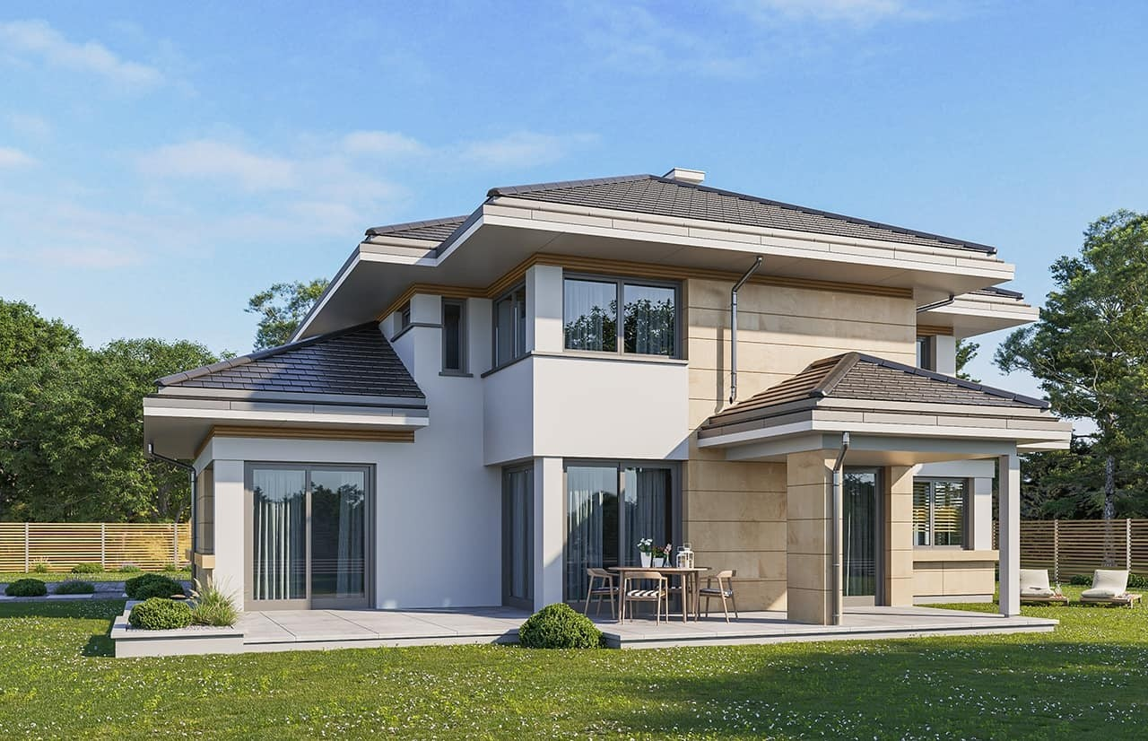 Projekt domu Dom z widokiem 3 wariant J - wizualizacja ogrodowa odbicie lustrzane