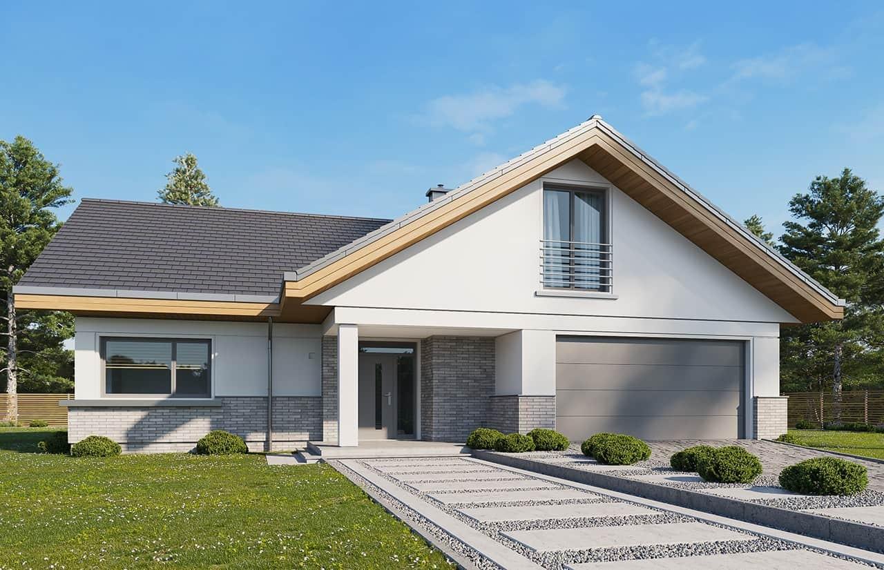Projekt domu Doskonały 2 wariant D - wizualizacja frontowa odbicie lustrzane