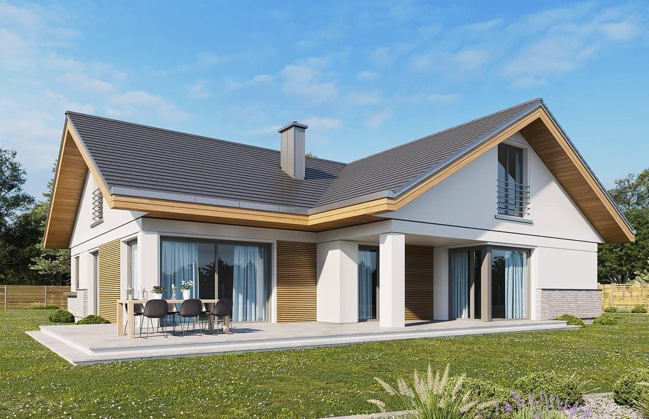 Projekt domu Doskonały 2 wariant D - wizualizacja tylna
