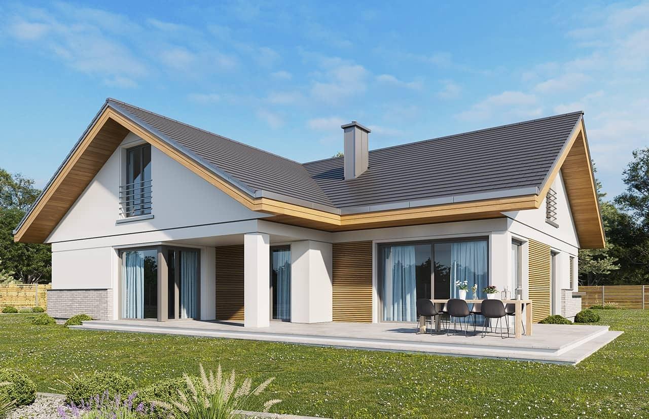 Projekt domu Doskonały 2 wariant D - wizualizacja tylna odbicie lustrzane