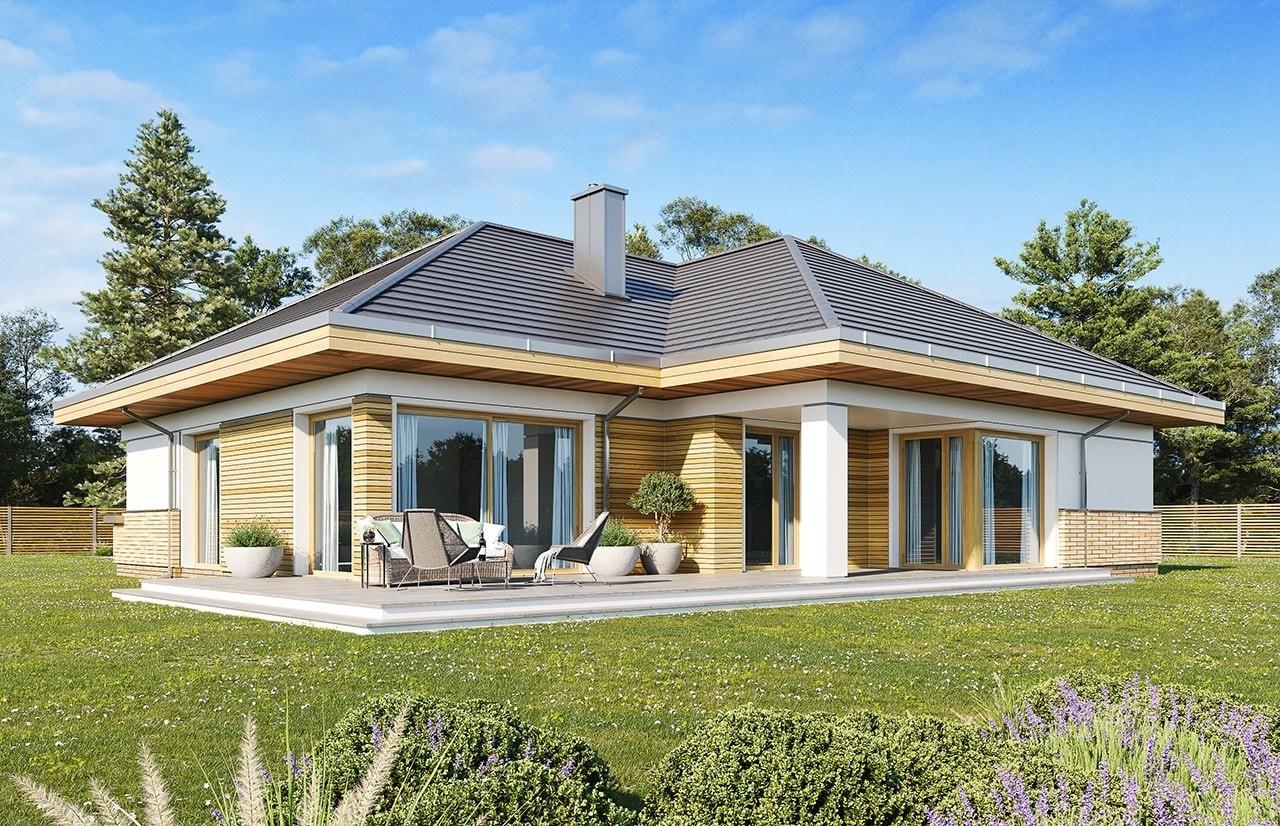 Projekt domu Doskonały 2 E - wizualizacja tylna