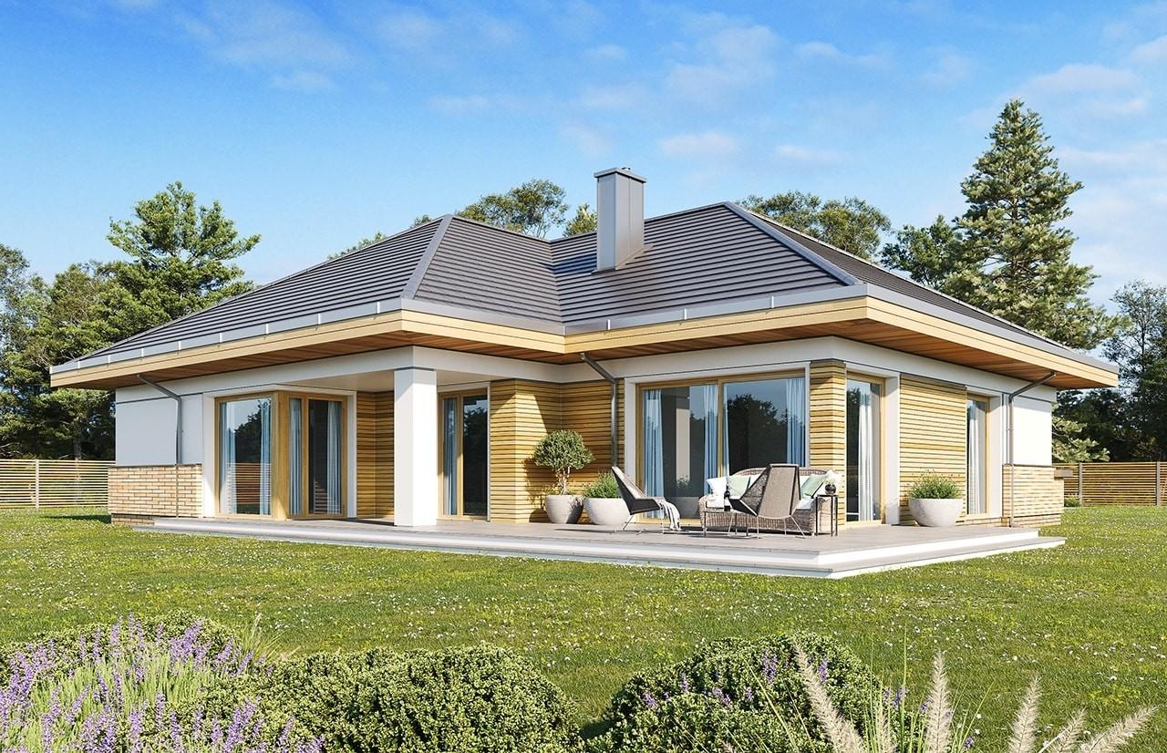 Projekt domu Doskonały 2 E - wizualizacja tylna odbicie lustrzane