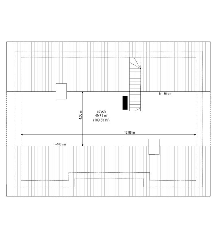 Projekt domu Ekonomiczny 2 - rzut strychu odbicie lustrzane