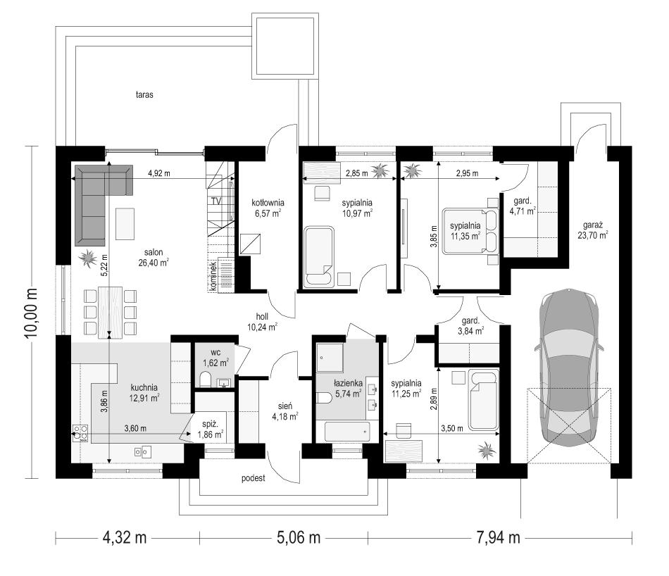Projekt domu Ekonomiczny 3 - rzut parteru