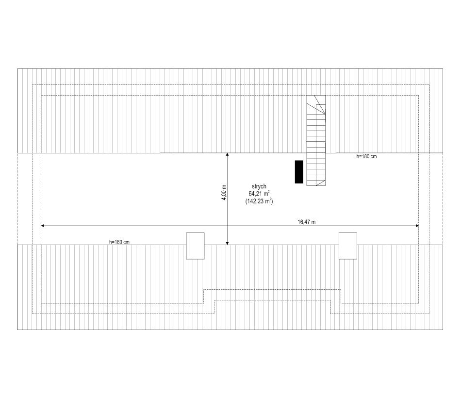 Projekt domu Ekonomiczny 3 - rzut strychu odbicie lustrzane