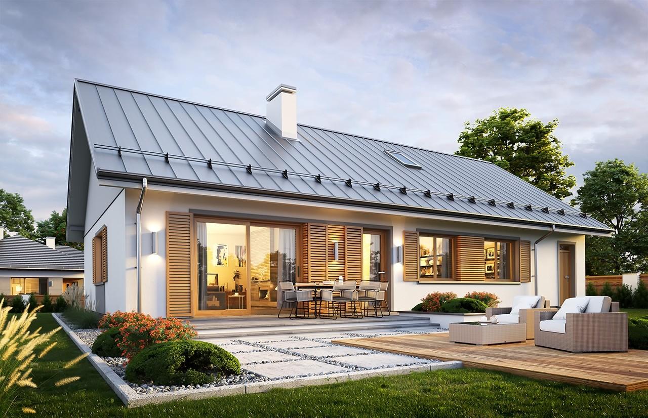 Projekt domu Ekonomiczny 3 wizualizacja tylna odbicie lustrzane