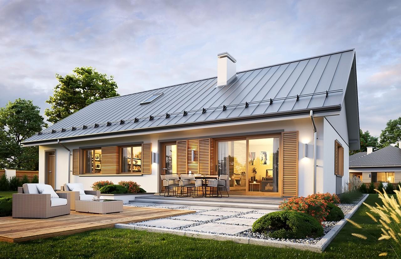 Projekt domu Ekonomiczny 3 wizualizacja tylna