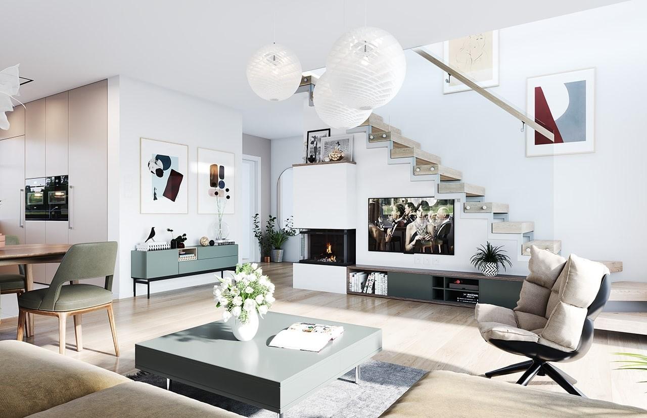 Projekt domu Ekonomiczny 2 wizualizacja wnętrza odbicie lustrzane