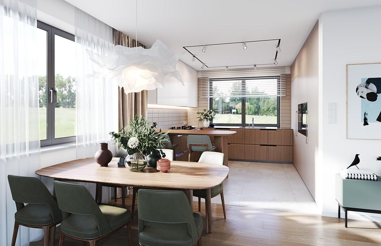 Projekt domu Ekonomiczny wizualizacja wnętrza odbicie lustrzane