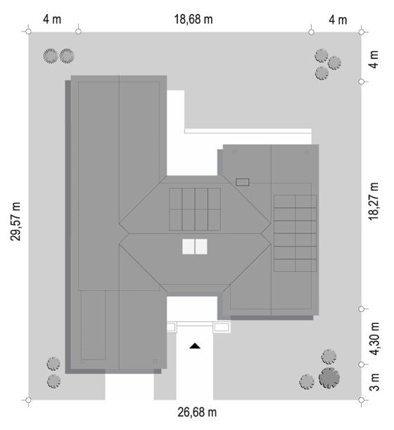 Projekt domu Hanka 2 - sytuacja odbicie lustrzane