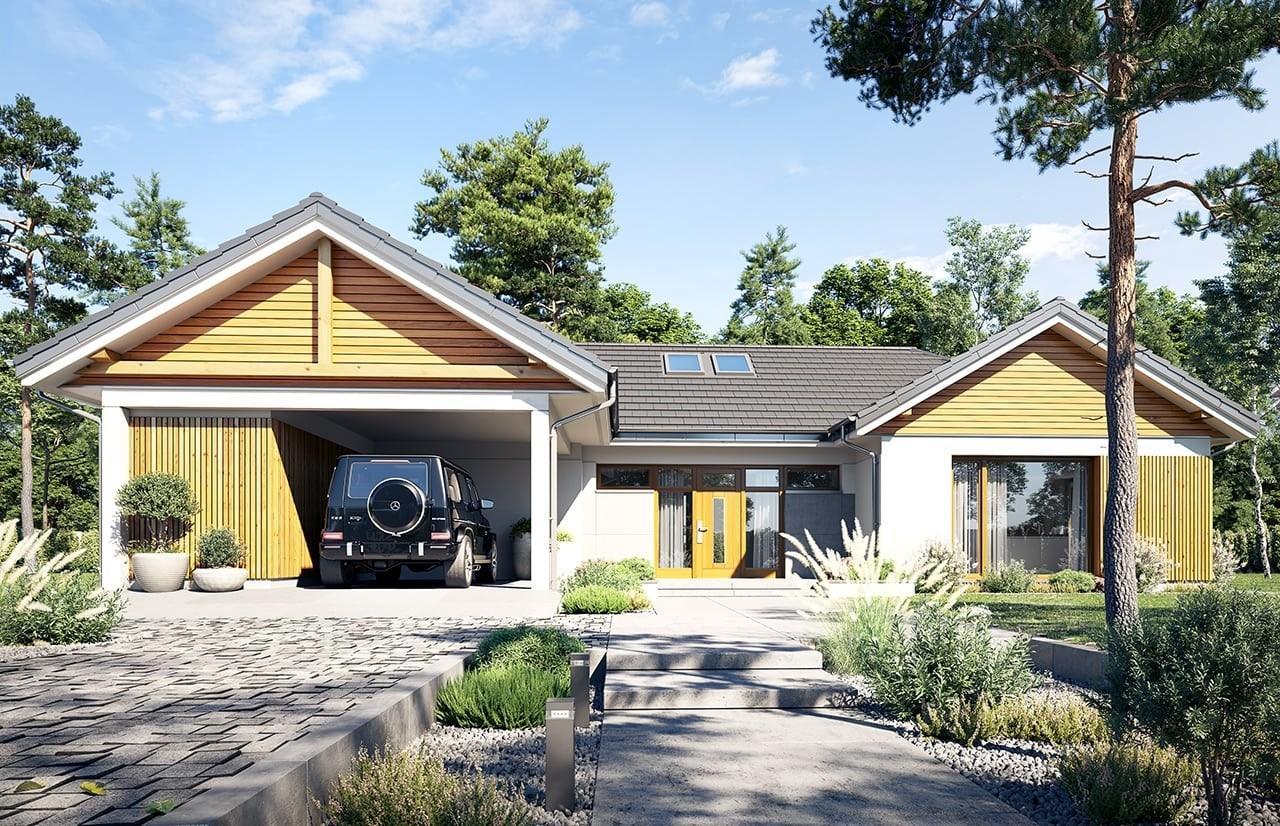 Projekt domu Hanka - wizualizacja frontu 2 odbicie lustrzane