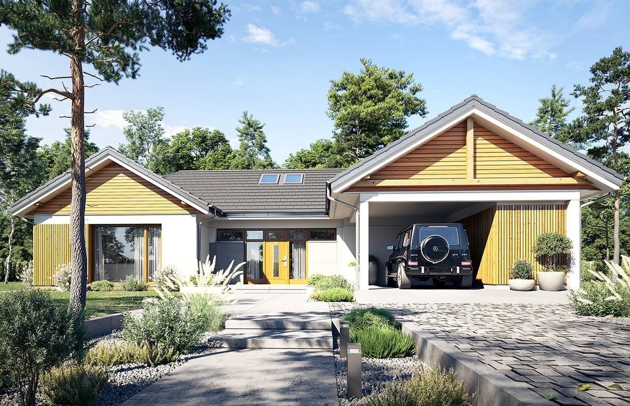 Projekt domu Hanka - wizualizacja frontu 2
