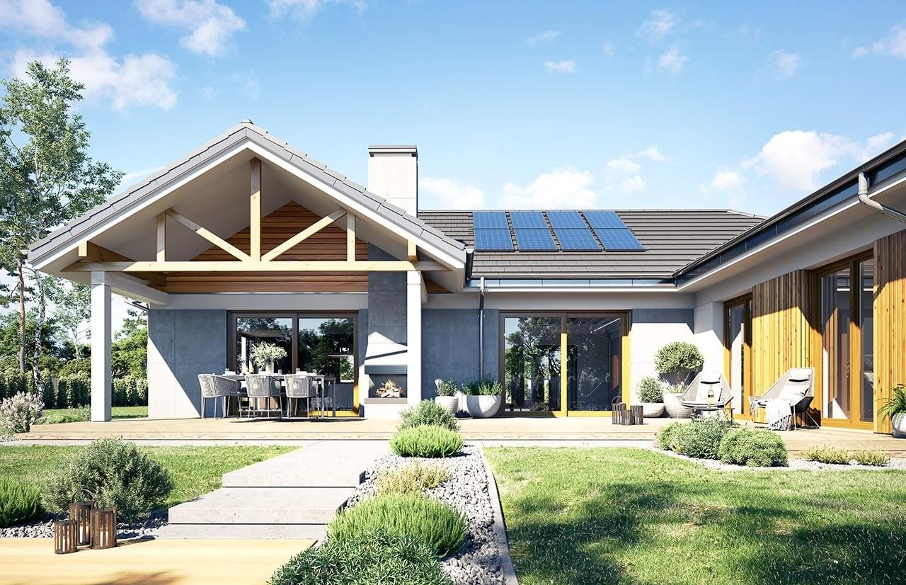 Projekt domu Hanka - wizualizacja ogrodowa 2 odbicie lustrzane