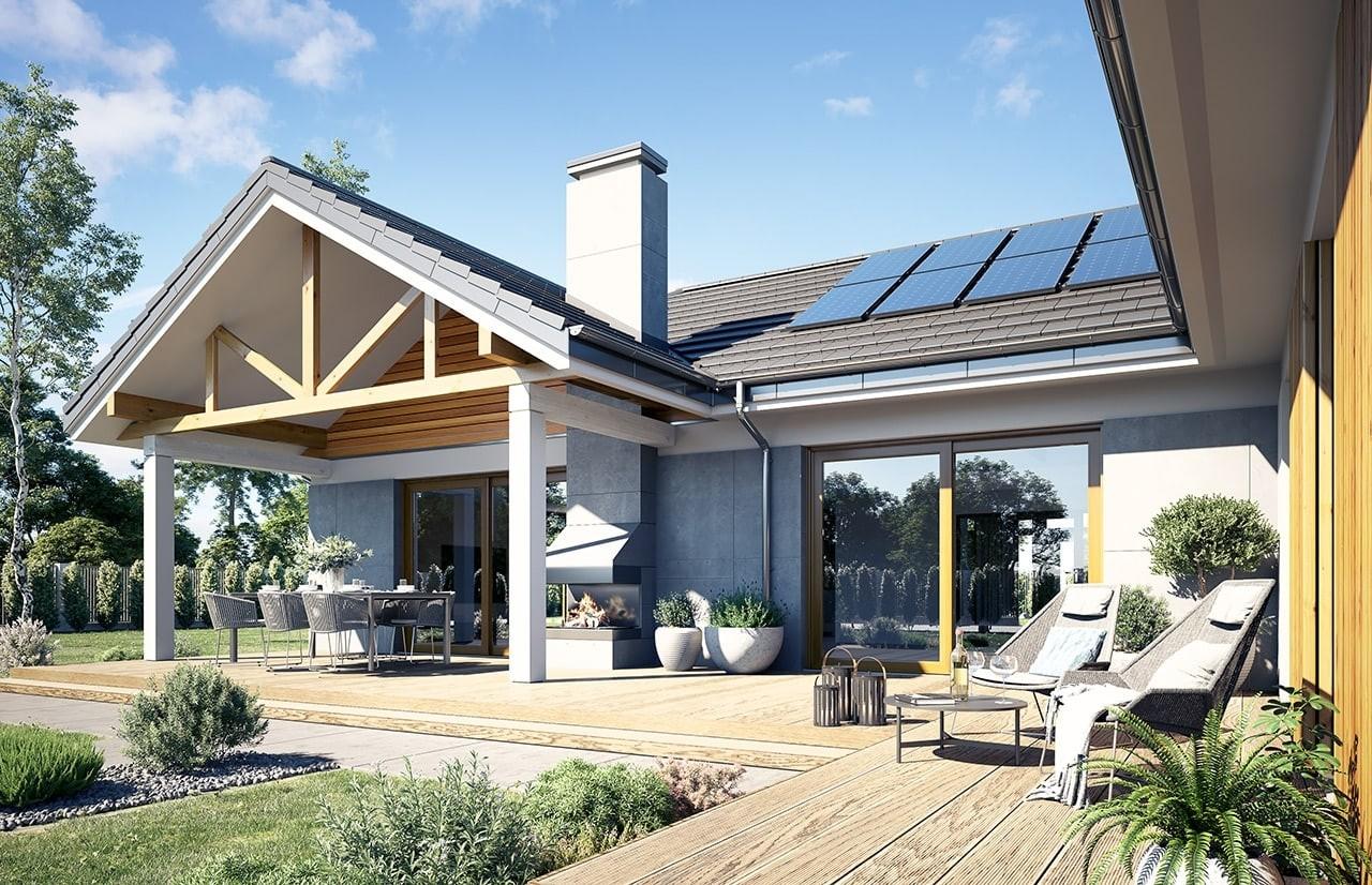 Projekt domu Hanka - wizualizacja ogrodowa 3 odbicie lustrzane