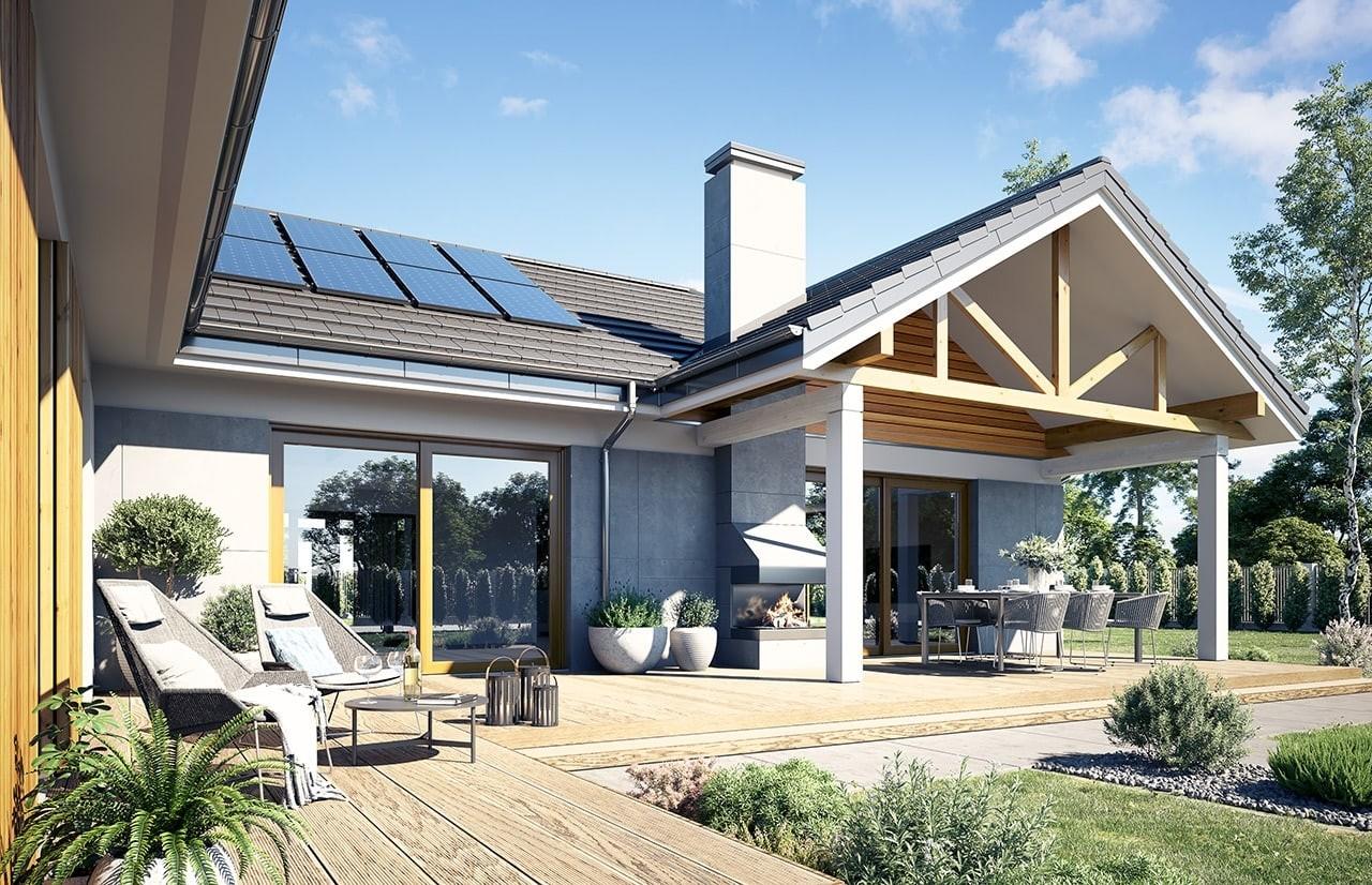 Projekt domu Hanka - wizualizacja ogrodowa 3