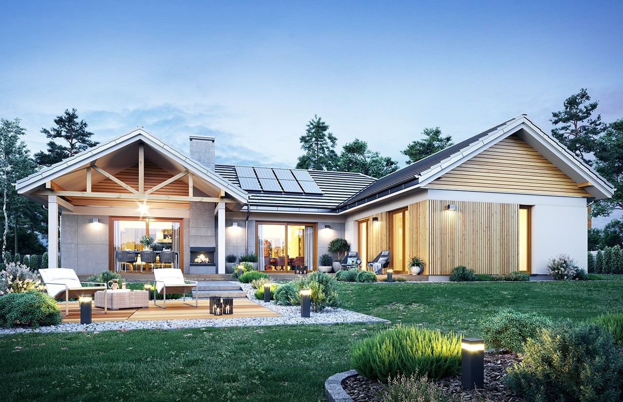 Projekt domu Hanka - wizualizacja ogrodowa odbicie lustrzane