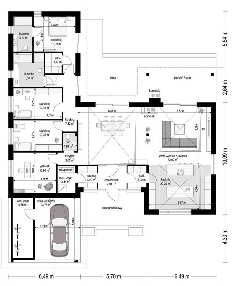 Projekt domu Hanka 2 - rzut parteru 2 odbicie lustrzane